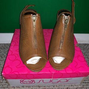 Slingback Peep Toe Cork Wedge Sandals